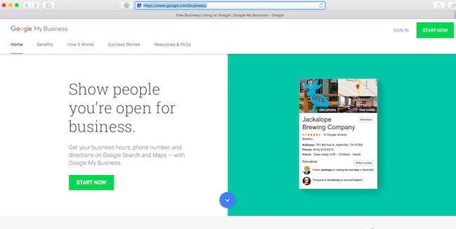 Google verslo registracijos puslapis