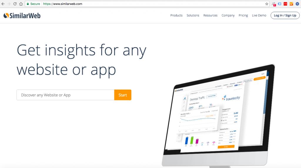 Konkurentu analize su SimilarWeb