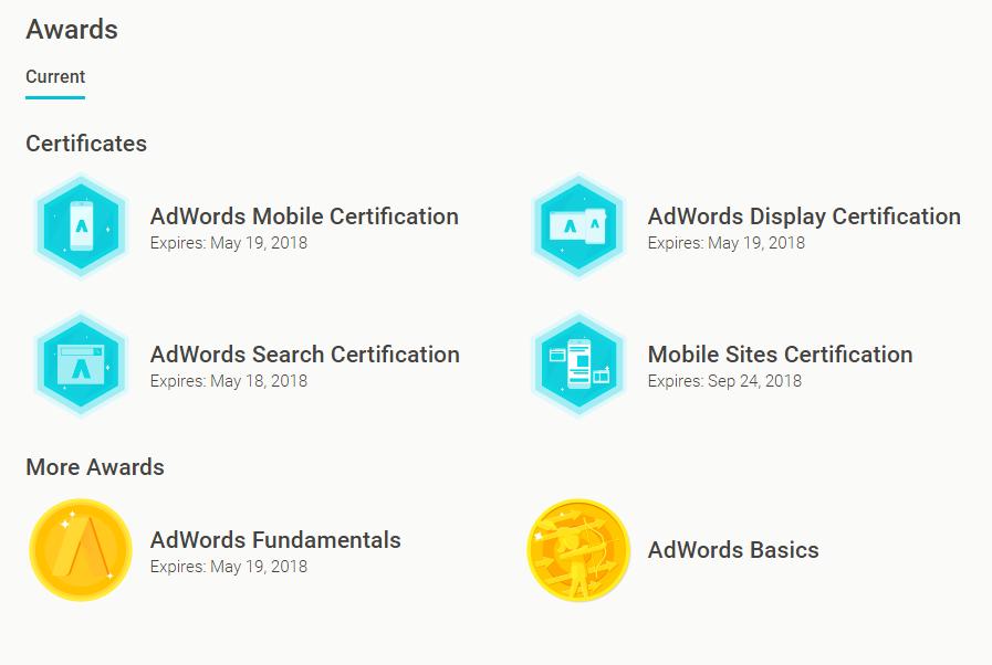 """Galiojantys """"SeoReklama"""" Adwords sertifikatai"""