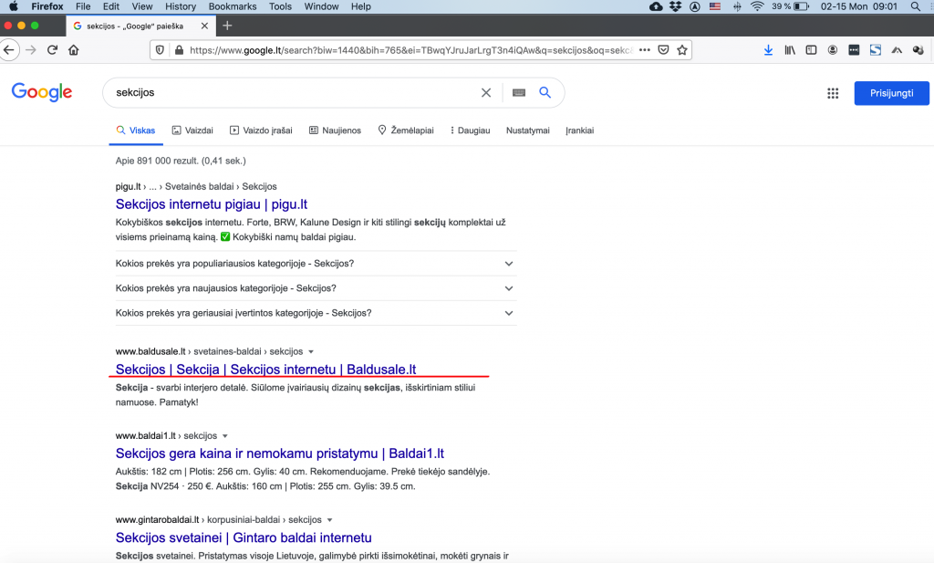sekcijos - google.lt 2 vieta 2021-02-15
